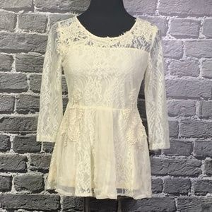 Anthro A'REVE Ivory Lace Boho Festival Top Sz M